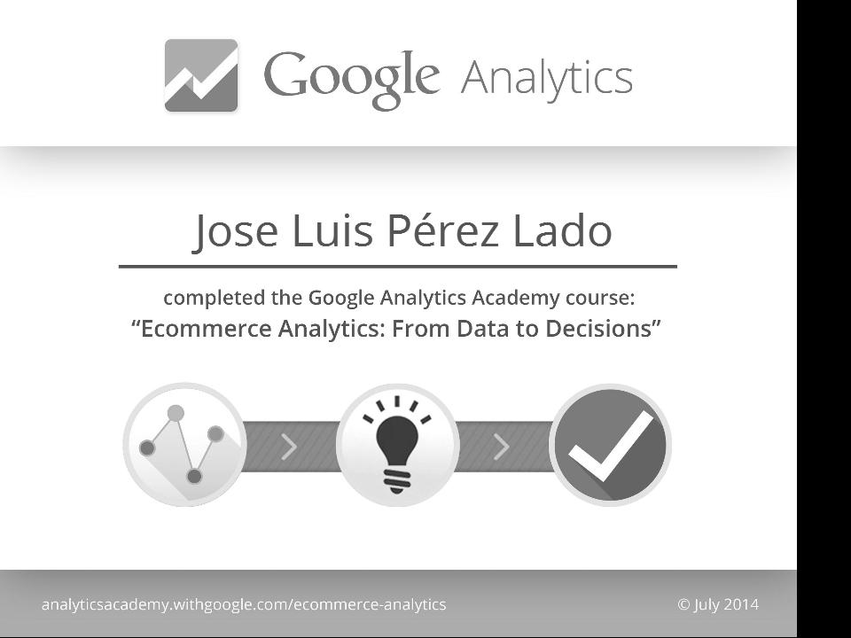 Certificado de superación Google Analytics para comercio electrónico