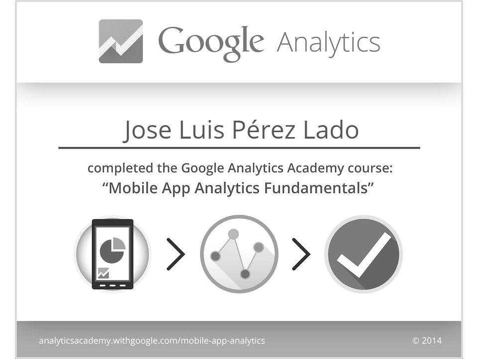 Certificado de superación Google Analytics para Apps