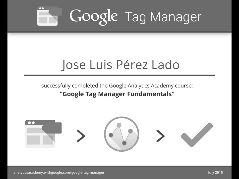 Google Tag Manager Fundamentals Certificado de Superación